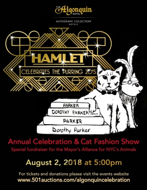 Executive Assistant at the Algonquin Hotel in NYC, Alice De Almeida will join Jon and Talkin' Pet 7/21/2018 at 521pm EST to discuss their Cat Fashion Show & Animal Fundraiser on August 2, 2018