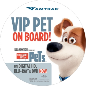 AMTRAK AND UNIVERSAL PICTURES HOME ENTERTAINMENT  GET ON BOARD TO CELEBRATE ILLUMINATION ENTERTAINMENT'S  THE SECRET LIFE OF PETS  WITH FIRST 'PETS RIDE FREE' PROMOTION